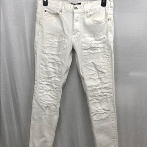 PACSUN men's white distressed skinny jeans